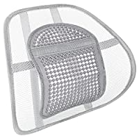 CostMad Super Comfort Mesh Lumbar Back Seat Sit Support System Pain Relief for Office Chair Car Seat etc with Mesh Grill Elasticated Positioning Strap (Silver)