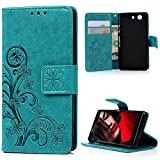 Xperia Z3 Compact / Mini Case, YOKIRIN Premium Soft PU Leather Purse Wallet Emboss Lucky Leaves Pattern Design Case with [Kickstand] Credit Card ID Slot Holder Magnetic Folio Flip Protective Slim Skin Cover for Sony Xperia Z3 Compact / Mini, Blue