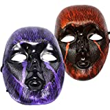 Ascension ® Fancy Face Mask Holi Party Halloween Festival Costume Horror Scary Colour Prank Fun Evil Naqaab Funny Colourful Shiny Open Eye & Nose Skull Devil (Random Colour) (Set Of 2)