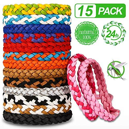 Nasharia Mückenschutz Armband, 15 Stück Mückenarmband Anti Mücken Armband Moskito Armband Repellent Armbänder für Kinder Erwachsene Indoor und Outdoor