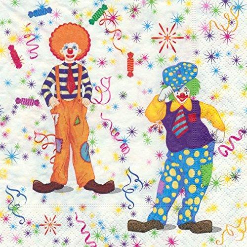 Prägung Kinder Geburtstag Clowns Zirkus 20 Stück 3-lagig 33x33cm ()
