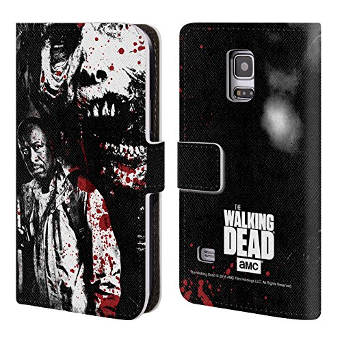 Ufficiale AMC The Walking Dead Morgan E Lurker Sangue Cover a portafoglio in pelle per Samsung Galaxy S5 mini
