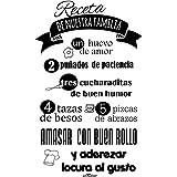 Enkolor/Vinilo Cocina/Frases Decorativas Pared/Receta Familiar/Negro/35X60cm. Adhesivos para Pared, Azulejos, Nevera.Extensió