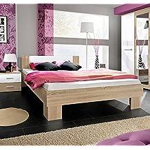 Muebles Bonitos - Cama de matrimonio Barasi en color sonoma y blanco 160x200cm