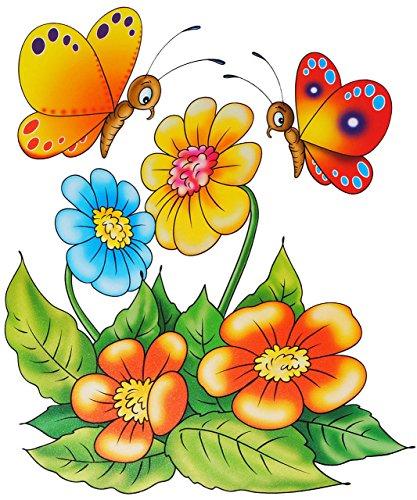 alles-meine.de GmbH 1 Stück _ großes Fensterbild -  Schmetterlinge & Blumen  - statisch haftend - selbstklebend + wiederverwendbar / Sticker Fenstersticker Aufkleber - Fensterb..