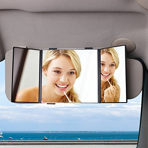 Preisvergleich Produktbild AUTSCA Auto Spiegel,Auto 3-fach faltbar Sonnenblende Make-up Spiegel, Sonnenschutz Kosmetik Rückspiegel geeignet für alle Auto