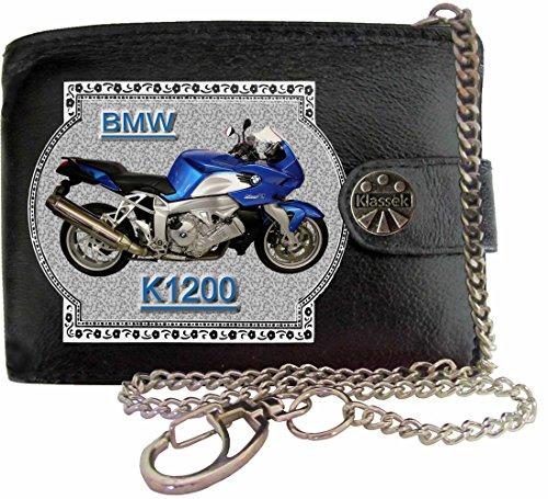 BMW K1200 Image sur portefeuille RFID pour hommes de marque KLASSEK vrai cuir avec chaîne Moto Bike cadeau d'accessoire avec boîte en métal produit BMW Non officiel