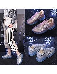 Crystal Shoes - Zapatillas deportivas para mujer, diseño coreano, color plateado