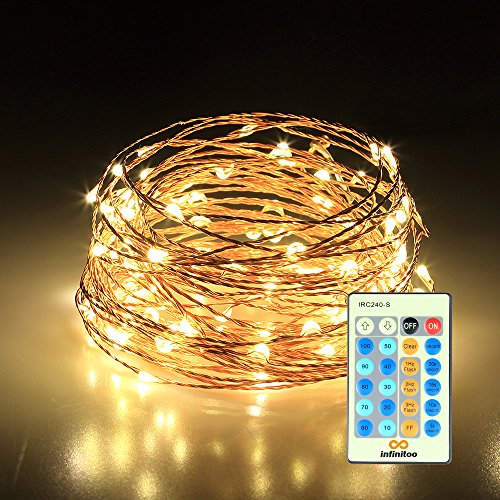 infinitoo LED Lichterkette, 10 Meter 100 LED mit Fernbedienung