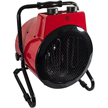 Trueshopping 3KW Space Heater 10,200BTU Industrial Workshop Garage Tilting Round Electric Fan Space Warmer 2580KCAL Stainless Steel Over-Heat Protection Adjustable Thermostatic Control