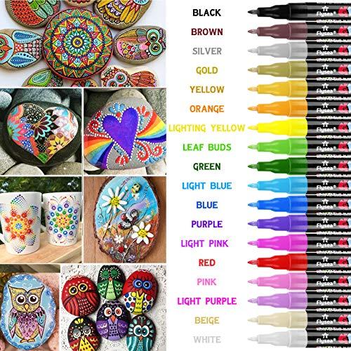 Rotuladores de pintura acrílica RATEL 18 colores Prima Impermeable Permanente Rotuladores para...