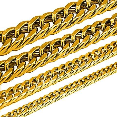 Königskette Panzerkette Armband Set o. einzeln aus Edelstahl schwarz silber gold, Größe:6 mm;Farbe:Gold.;Auswahl:Kette 70 cm