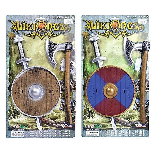 4Viking Schwert/Schild und Axt Set, One size (Viking Schild Kostüm)