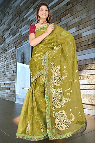 Mehendi with maroon resham embroidery plain super net jacquard sarees