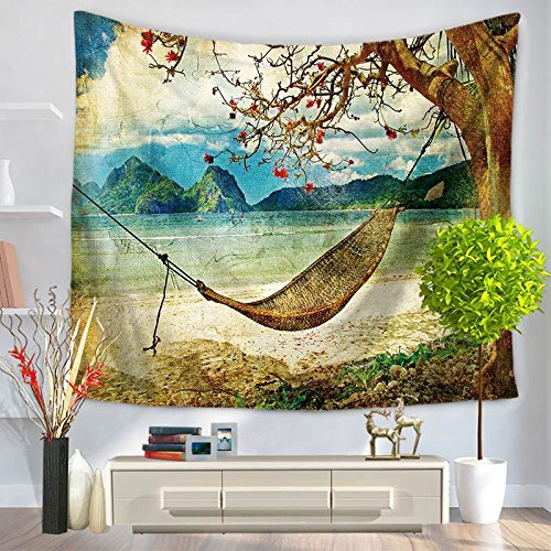 Nature Scene Decor Bohemian-Psychedelic Cotton-Mandala Wand-hängende Mandala Tapisserie-Hippie Beach Throw , 150*130