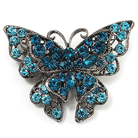 Azure Blue Crystal Filigree Butterfly Brooch (Silver Tone)