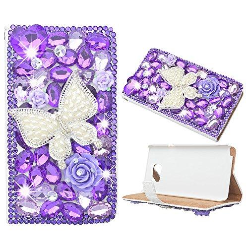 evtech (TM) Viola Butterfly Strass Bling Crystal Glitter Style Book Portafoglio PU Housse en Cuir avec Support Sac à main De Téléphone et fentes de Cartes, viola