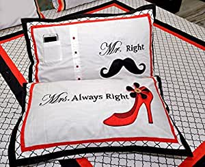 Ebony & Silk Mr. & Mrs. Right Cotton Bedsheet with 2 Pillow Covers and 1 Cushion Cover - King Size
