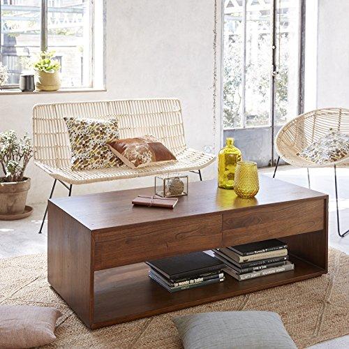Table Basse en Bois Finition Noyer 4 tiroirs