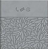 Brunnen 1064587 Adressbuch Floral mit 24 A-Z-Tabs, 64 Blatt, 13.5 x 13.5 cm, grau