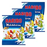 Haribo Milchbären, 3er Set, Gummibärchen, Weingummi, Fruchtgummi, Milchgummi, 3 Beutel zu je 175 g