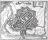 MAP ANTIQUE MERIAN 1655 HANAU CITY PLAN OLD LARGE REPLICA