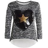 BEZLIT Mädchen Wende Pailletten Long Shirt Bluse Pullover Langarm Sweat Shirt 21043