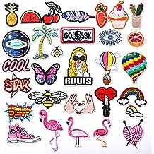 zesgood 30piezas Juego de diseño de parche bordado para planchar o coser, multicolor