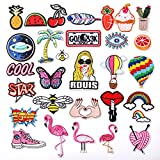 ZesGood 30pcs assorted Iron-on or Sew-on Embroidered patch Motif Applique
