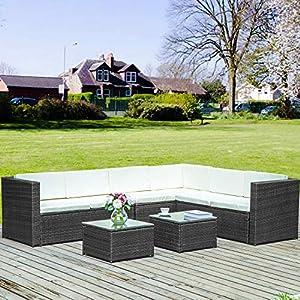 Merax Poly Rattan Lounge Möbel Set Outdoor Gartenmöbel Set 6-Sitzer Eckofa Terrasse Set Sitzgruppe Balkon Möbel Garnitur mit Abnehmbare Kissen & Gehärtetem Glas Tischplatte (Schwarz)