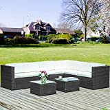 Merax Poly Rattan Lounge Möbel Set Outdoor Gartenmöbel Set 6-Sitzer Eckofa...