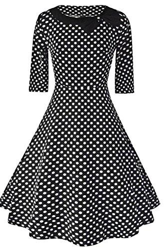 MisShow Damen Partykleid Vintage Kleid Swing Retro Cocktailkleid kurz Schwarz XXL