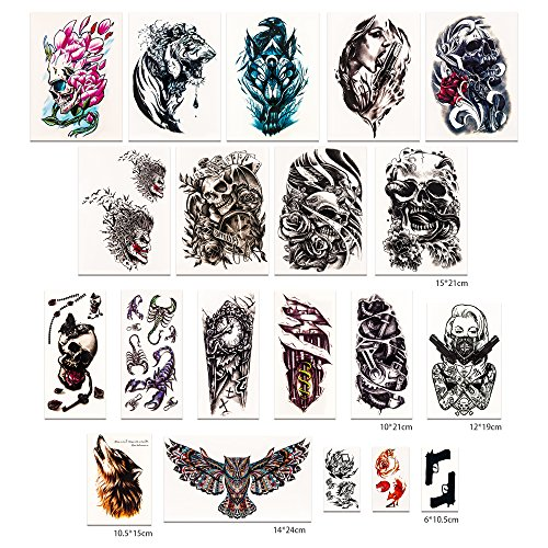 MAPLE UK 20 Sheets Temporary Tattoos for Adults Men Women Temporary Tattoo Stickers Kit Water Transfer Tattoo Stickers Fake Tattoos Fashion Body Art Stickers 33 Individual Piece Womens Fake