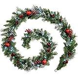 WeRChristmas Weihnachtsdekoration 9ft Frosted beleuchteter Weihnachtsgirlande beleuchtet mit 40cool weiß LED-Lichter