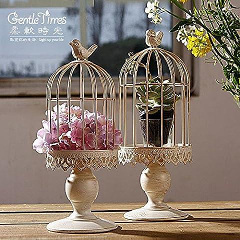 qwer Hierro Continental adornos de boda regalos de boda home salón decoraciones de flores en forma de jaula, estudio de arte , gran