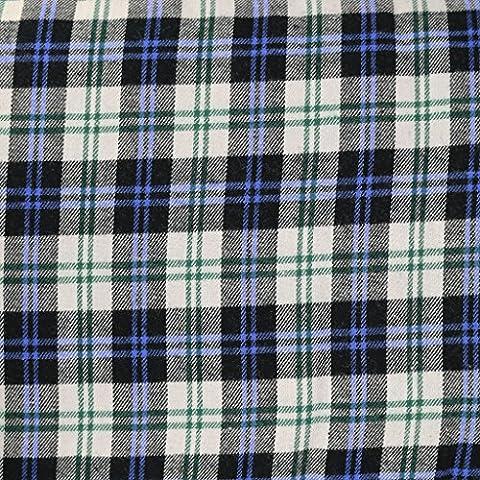 Tissu Flanelle en coton motifs carreaux - Ecossais Bleu x10cm