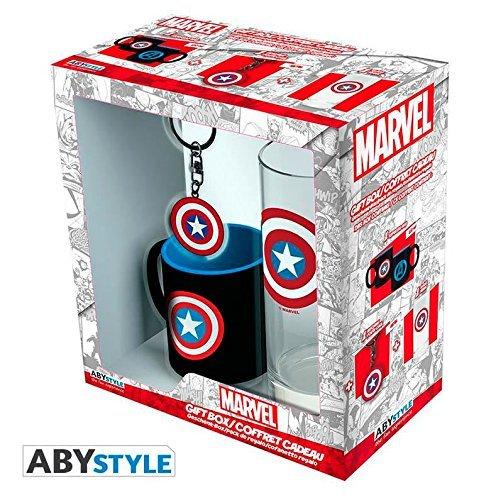 Set regalo Capitán América, escudo. Taza, vaso y llavero. Marvel Comics