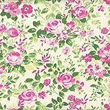 Tessuto rosa, magenta e verde ROSETO (Giardino di campagna - rosa e verde) | 100% puro cotone | altezza: 140 cm (1 metro), a metro / metraggio