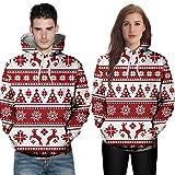 TWBB Herren Damen Paar Weihnachten Drucken Hoodie Kapuzen Kapuzenpullover Mantel Outwear Oberteile Mit Tasche