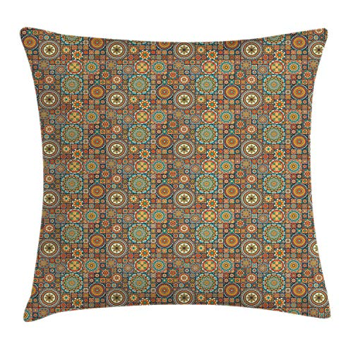 BUZRL Moroccan Throw Pillow Cushion Cover, Old Fashioned Eastern Style Mosaic Composition with Folk Mandala Motifs, Decorative Square Accent Pillow Case, 18 X 18 inches, Turquoise Orange