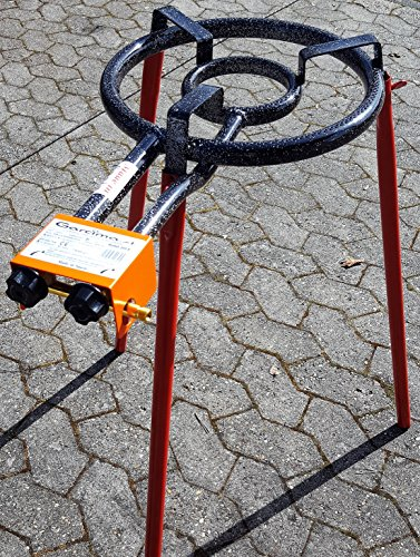 Hockerkocher Ringbrenner Gasbrenner 35 cm Paella 10 kw mit Untergestell Deutsche Zulassung