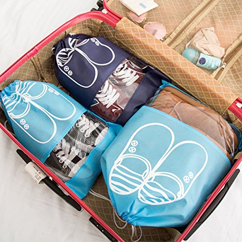 kmool Travel Schuhbeutel mit Kordelzug, 5große Taschen und 5mitte Beutel pro Set Himmelblau