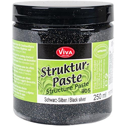 Viva Decor Pâte à Structure 25 g Noir/argenté, Acrylique, Multicolore