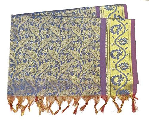 Shela (Magentha Blue Color), Nauvari Saree Shela, Dulhan saree Shela, jari Silk...