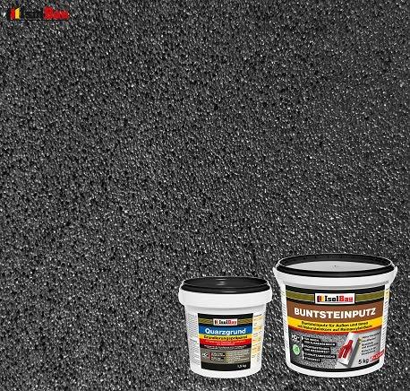 Buntsteinputz Mosaikputz BP100 (Anthrazit) 5kg Absolute ProfiQualität + Quarzgrund 1,5 kg