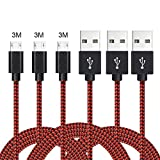 3 Cavi Micro USB rivestiti in nylon (Rosso)