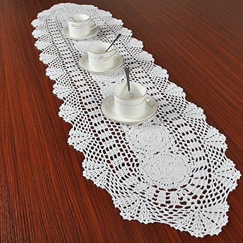 Yazi floreale runner mano uncinetto ovale bianco tavolo centrini in ...