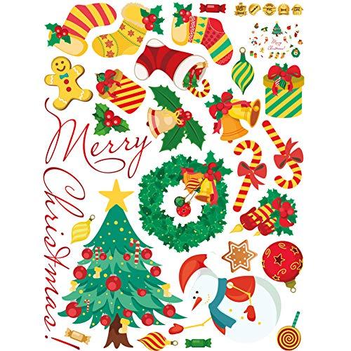 koration Wandaufkleber Weihnachtsbaum Kranz Schneeflocke Aufkleber Möbel Glas Aufkleber ()