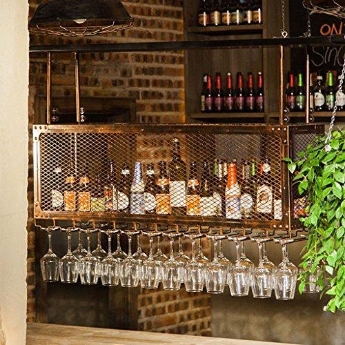 JiuErDP Becherhalter hängen Wein Glas Aufhänger Bar Weinregal doppelte hängende Cup Rack Bar Weinregal (Color : Bronze, Size : 100x30cm) (Aufhänger Wein Glas)