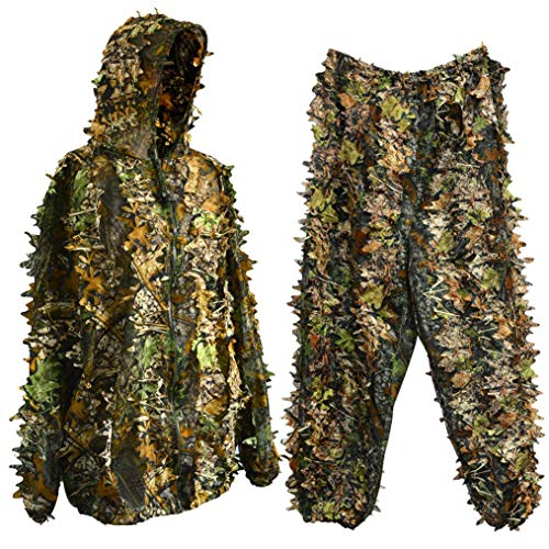 Kostüm Ghillie Anzug Kind - Ishua 1 Satz Jagdanzug, atmungsaktiv Leichte Jagd Camo Kleidung Scharfschützenanzug Halloween Cosplay Kostüm Woodland 3D Leaf Hunting